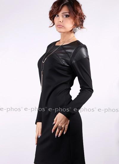 Дамска рокля с дълъг ръкав и апликации от кожа