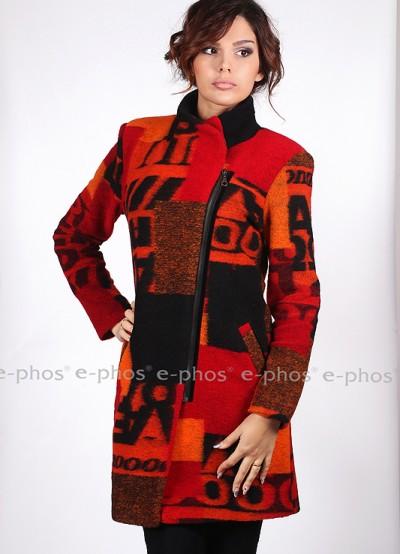 Вълнено палто с асимeтрично закопчаване с цип
