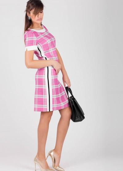 Дамска рокля-розово каре