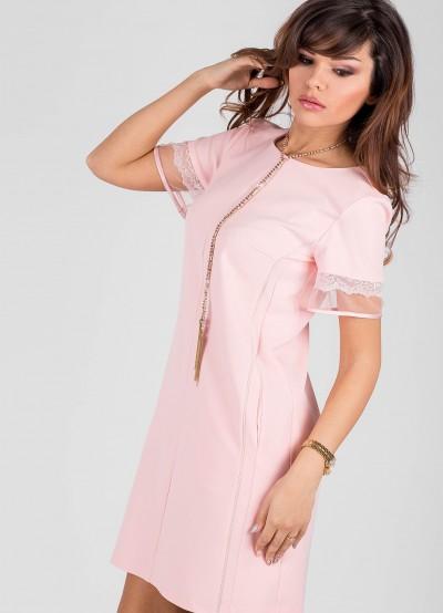 Дамска рокля в цвят пудра