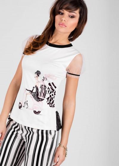 Дамска блуза с къс ръкав и щампа