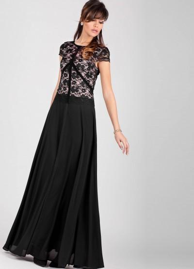 Елегантна дълга дамска рокля от шифон и дантела