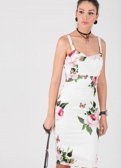 Дамска рокля тип бюстие с принт на рози