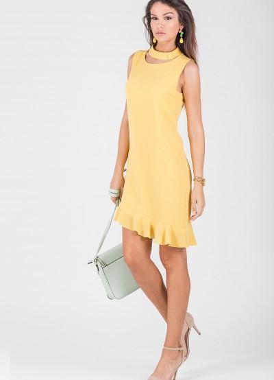 Елегантна дамска рокля в нежно жълт цвят