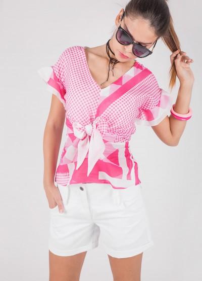 Памучна дамска блуза с връзки на деколтето