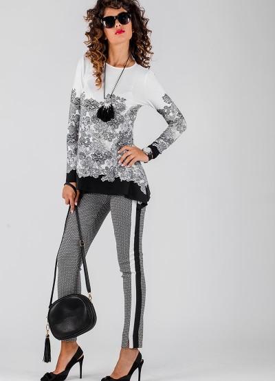 Дамски панталон в ситно бяло и черно каре с кантове и малка цепка