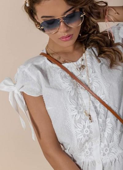Дамска риза с дантела и панделки на ръкавите