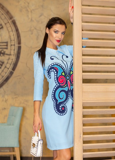 Дамска рокля с авторски принт ''Пеперуда''