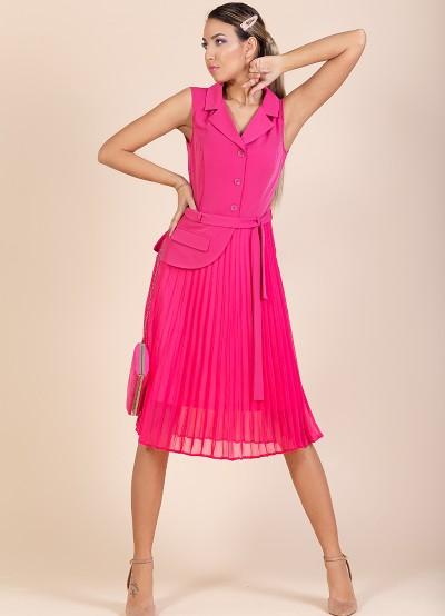 Дамска рокля солей в цвят циклама