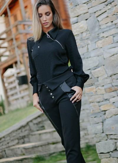 Дамски панталон с кожени елементи