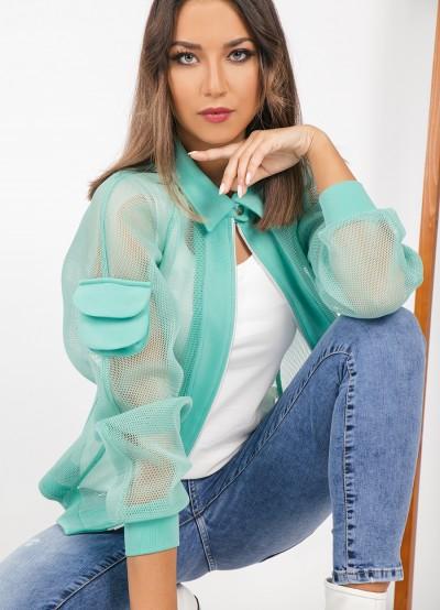 Екстравагантно дамско яке в цвят <мента>