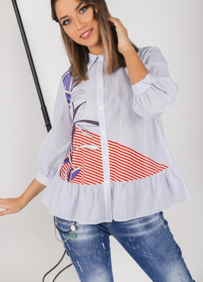 Дамска риза в разкроен силует