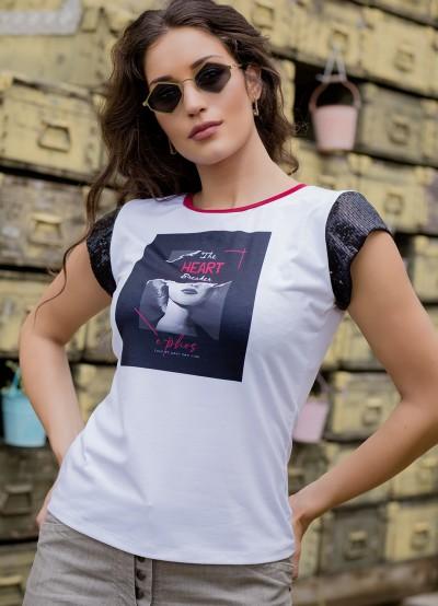 Дамска блуза с къси ръкави от черни пайети