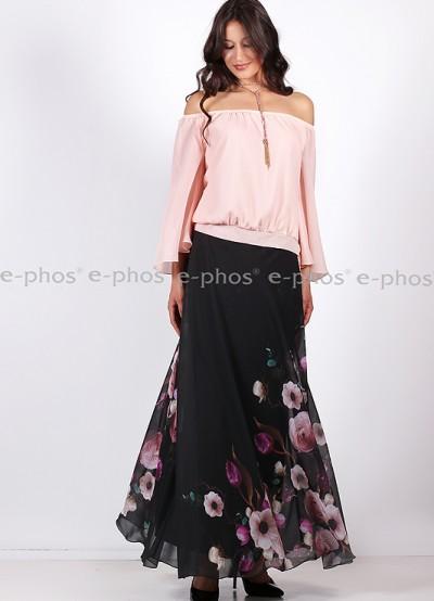 Дамска блуза с отворено деколте в цвят пудра