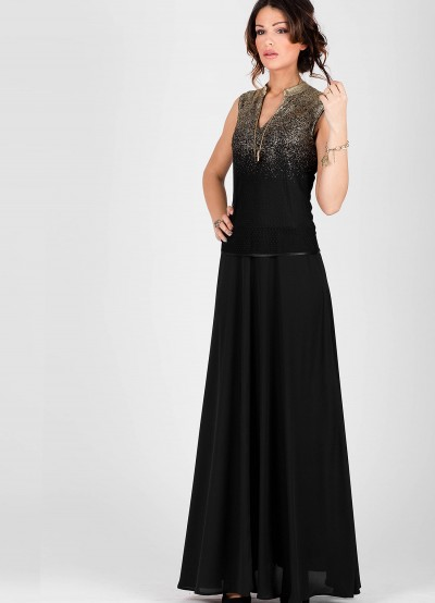 Дълга дамска рокля от черен шифон и златни отблясъци