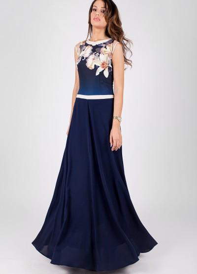 Дълга дамска рокля в тъмно син цвят с дизайнерски принт