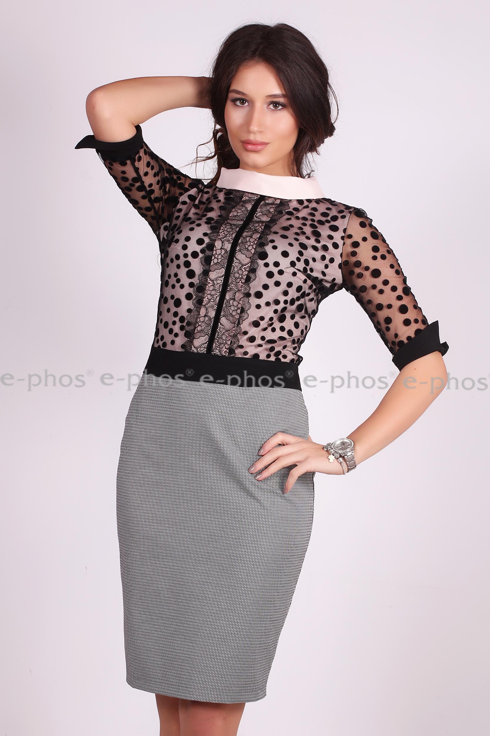 Елегантна нежна рокля с 3/4 ръкав