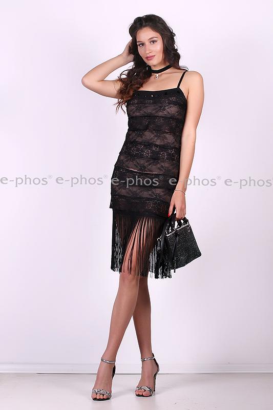 519ecdc3ce5 Елегантна черна рокля с ресни - Ephos България - Онлайн магазин за ...