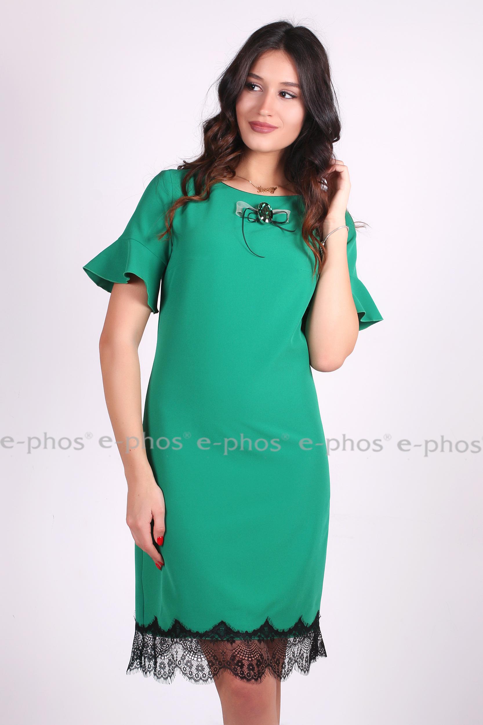 f1d66b5e1de Елегантна дамска рокля в зелено с красива брошка - Ephos България ...