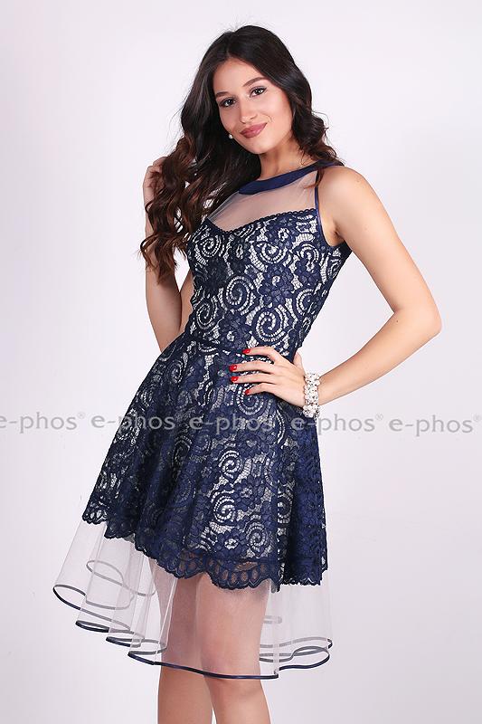 77e5914578b Красива дамска рокля от тъмно-синя дантела - Ephos България - Онлайн ...