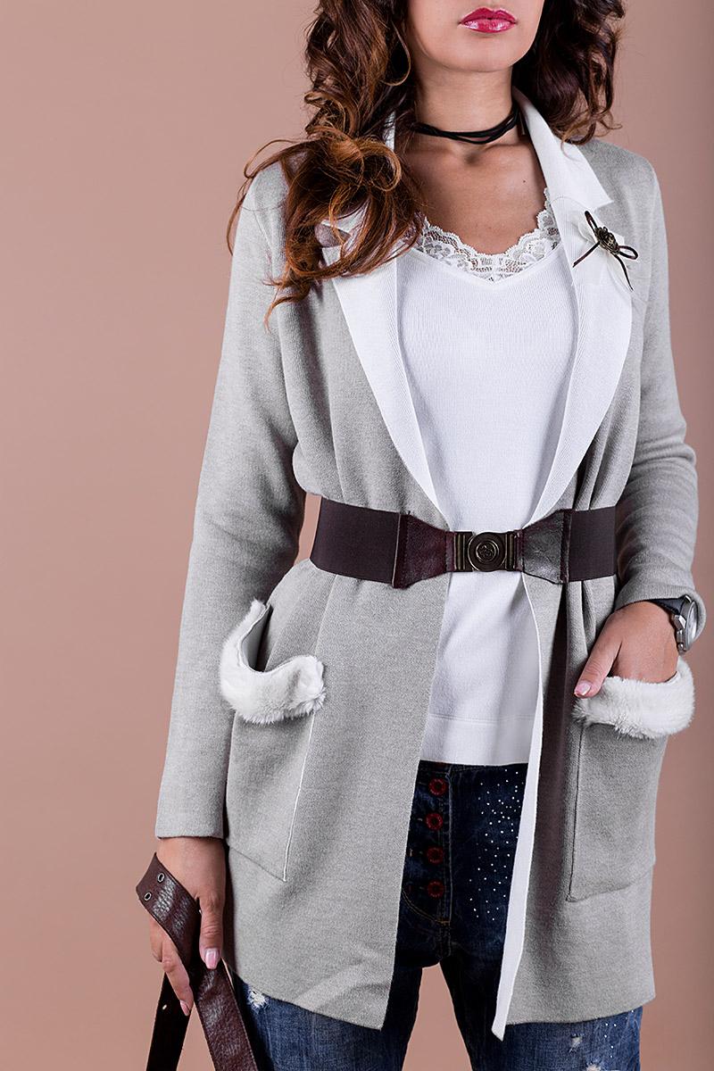 624013533d3 Елегантна дамска жилетка с колан и брошка - Ephos България - Онлайн ...