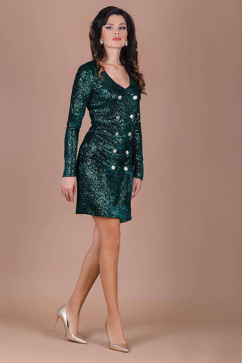 Парти рокля от зелен плюшен плат с фини пайети