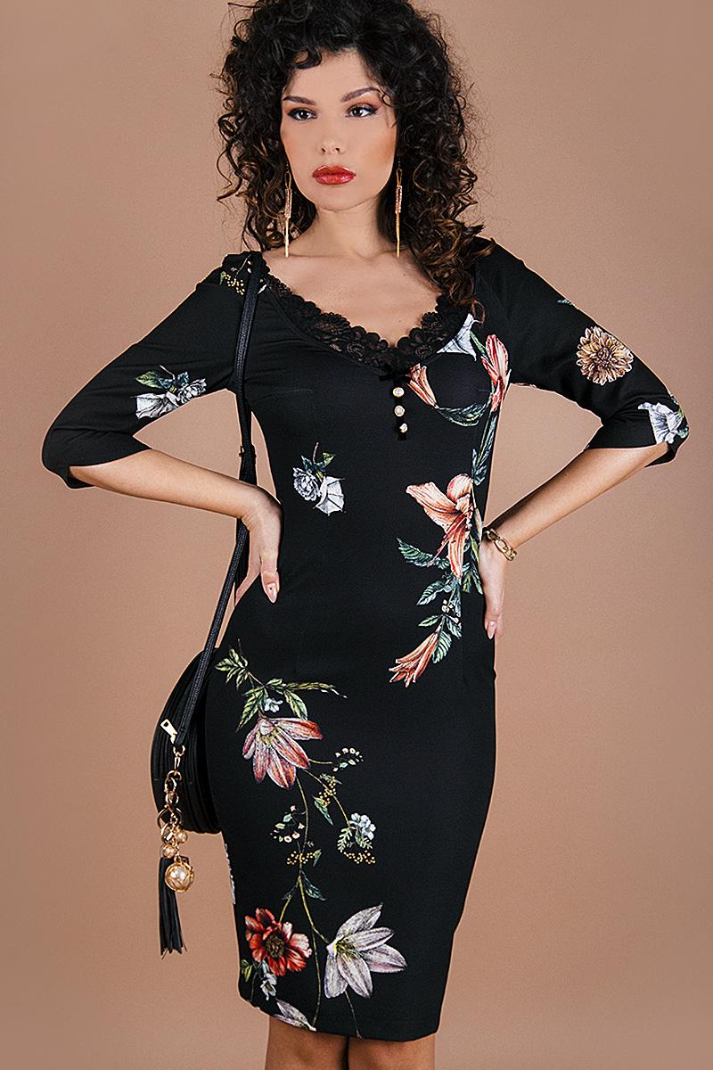 Стилна дамска рокля с цветен принт