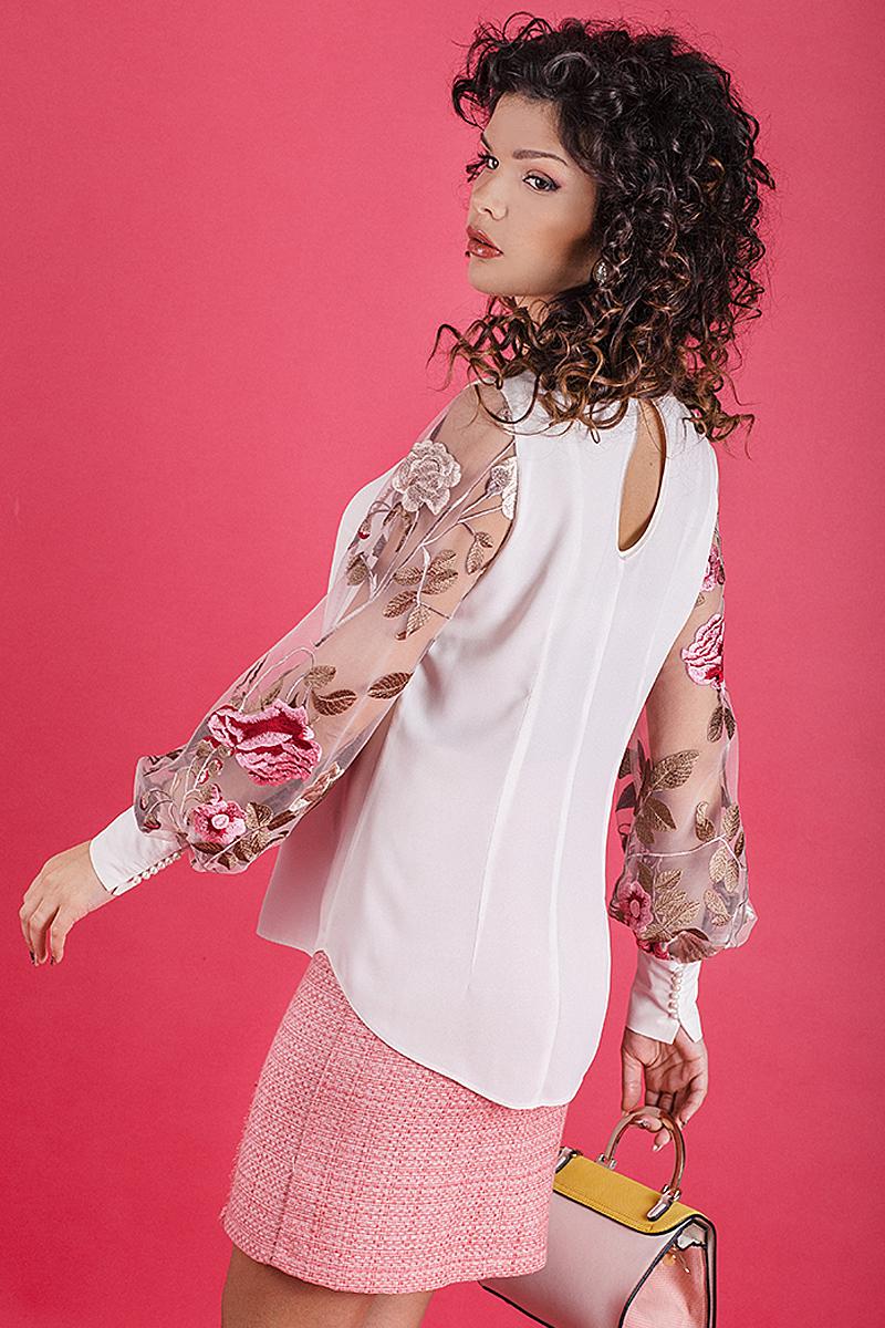 Дамска риза с ръкав от бродиран тюл