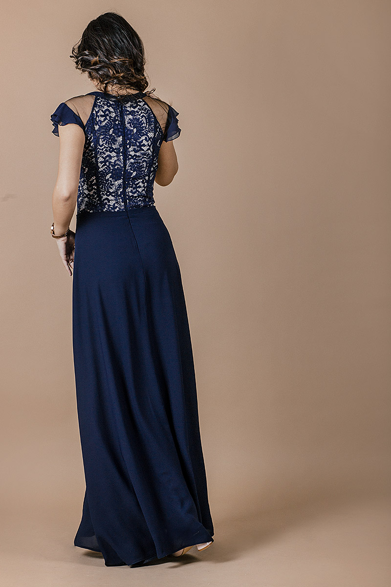 Изискана официална дамска рокля от луксозна  дантела и жоржет
