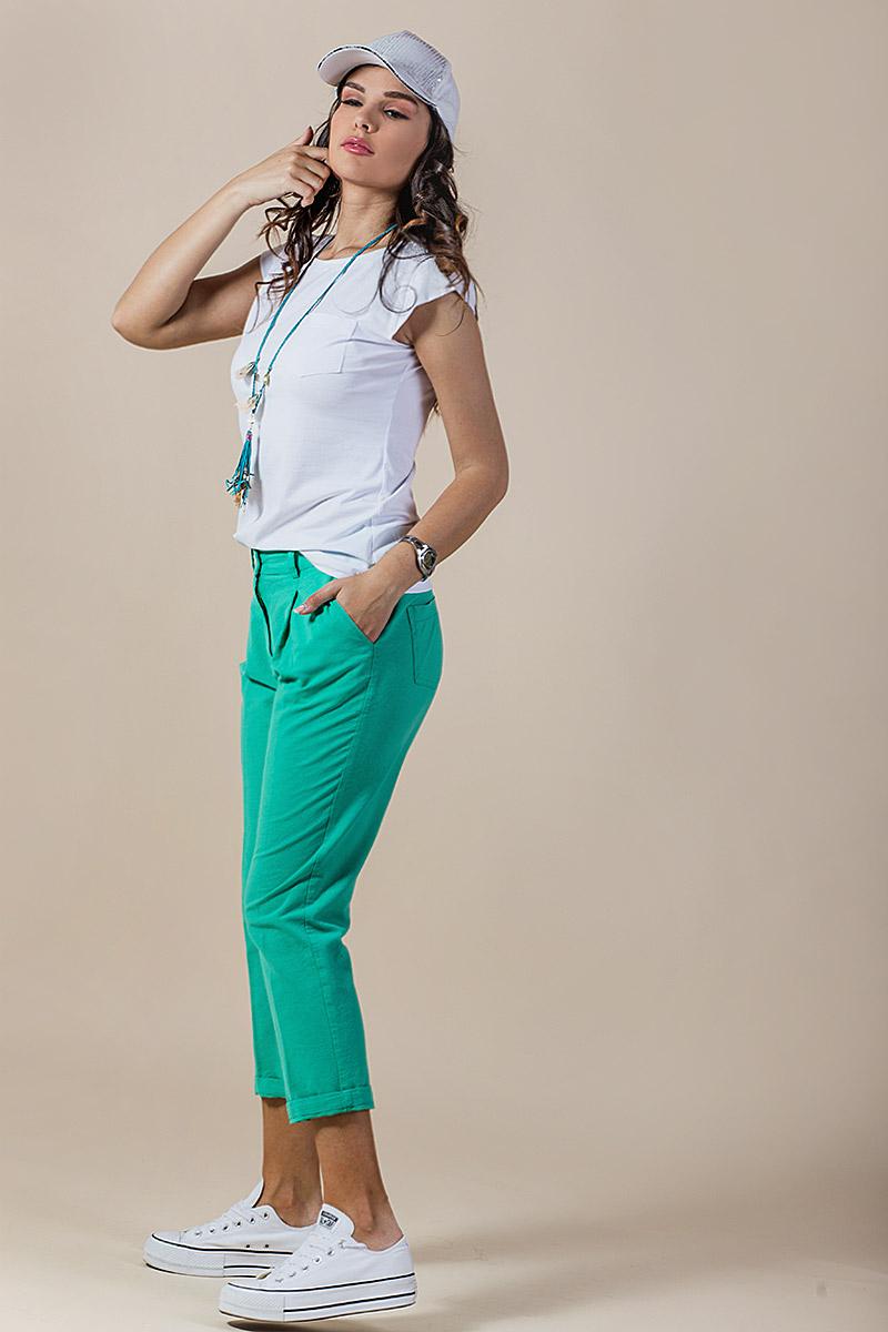 Дамски панталон от лен в зелен цвят
