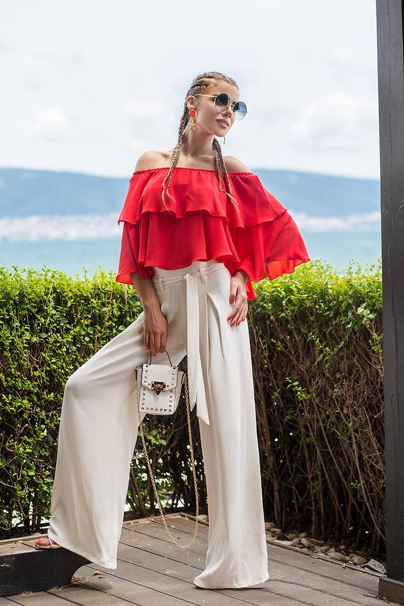Елегантен дамски панталон с висока талия