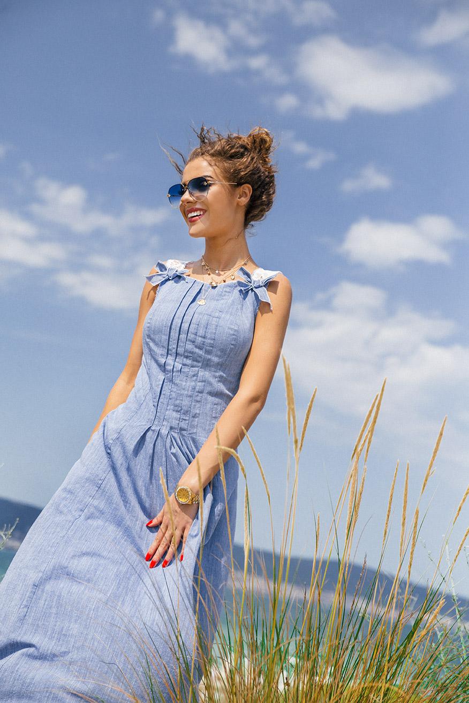 Дълга памучна дамска рокля с малки панделки