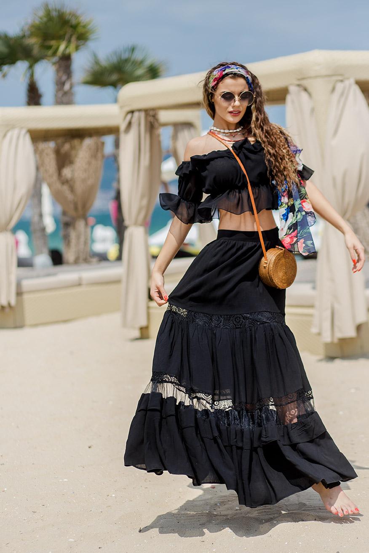 Дълга дамска памучна пола в черно