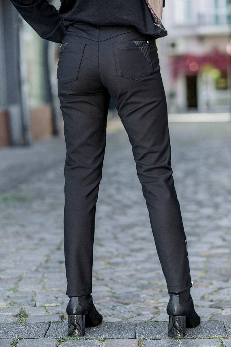Дълъг дамски панталон  с кожени елементи